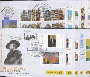 Ausstellungsbelege Jahrgang 2003 Nr. 77 bis 86 komplett mit 10 Belegen