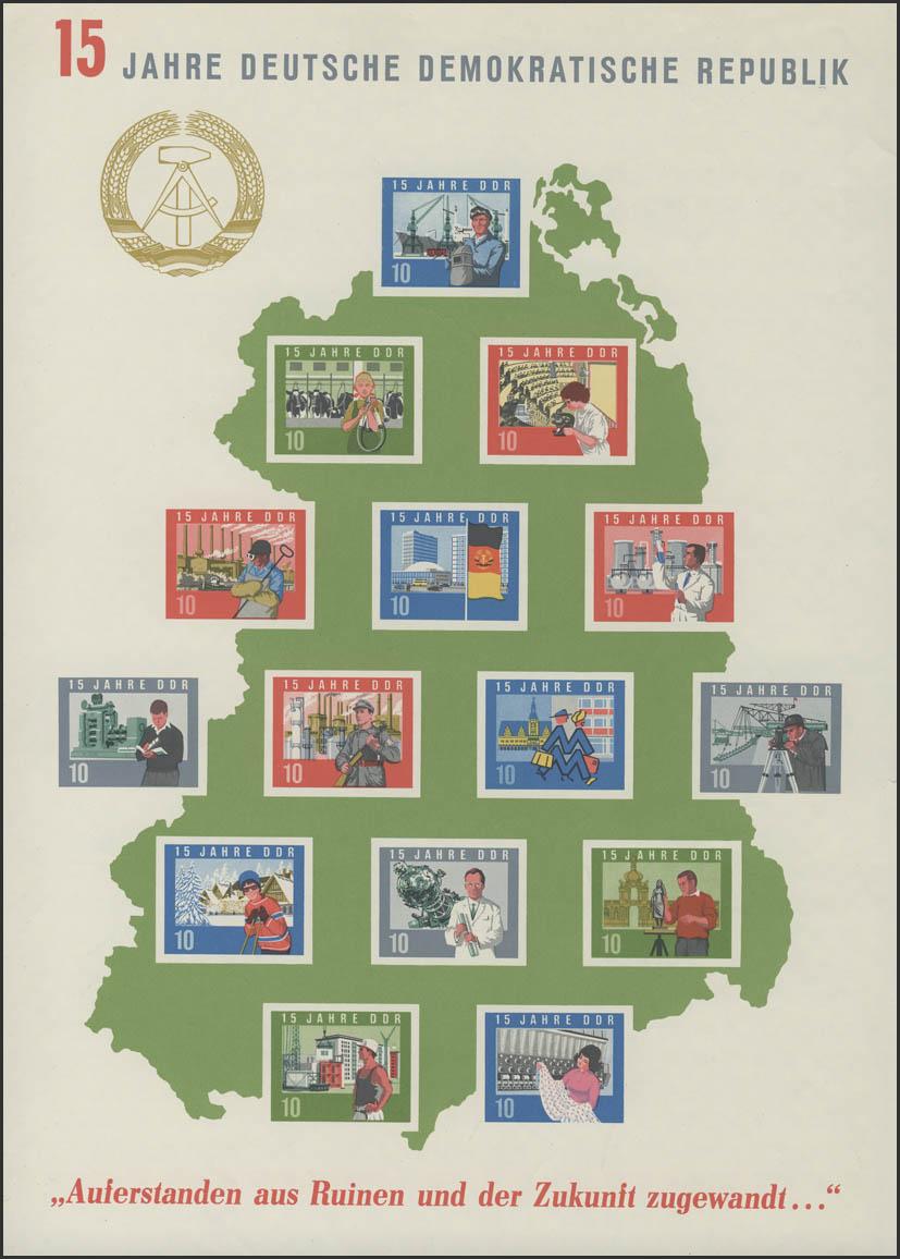 Block 19 Jubiläum 15 Jahre DDR 1964, ungezähnt ** wie verausgabt ohne Gummi 0