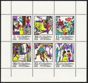 1801-1806 Märchen-Kleinbogen 1972: unten nicht durchgezähnt **