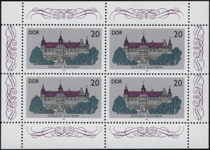 3033 Schlösser-Kleinbogen 4x 20 Pf, postfrisch