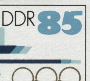 Block 94I Olympiade 1988 mit PLF I Kerbe oben in der 5 bei der Wertziffer, **