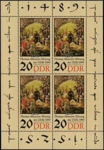 3271 Müntzer-Kleinbogen 4x20 Pf, postfrisch
