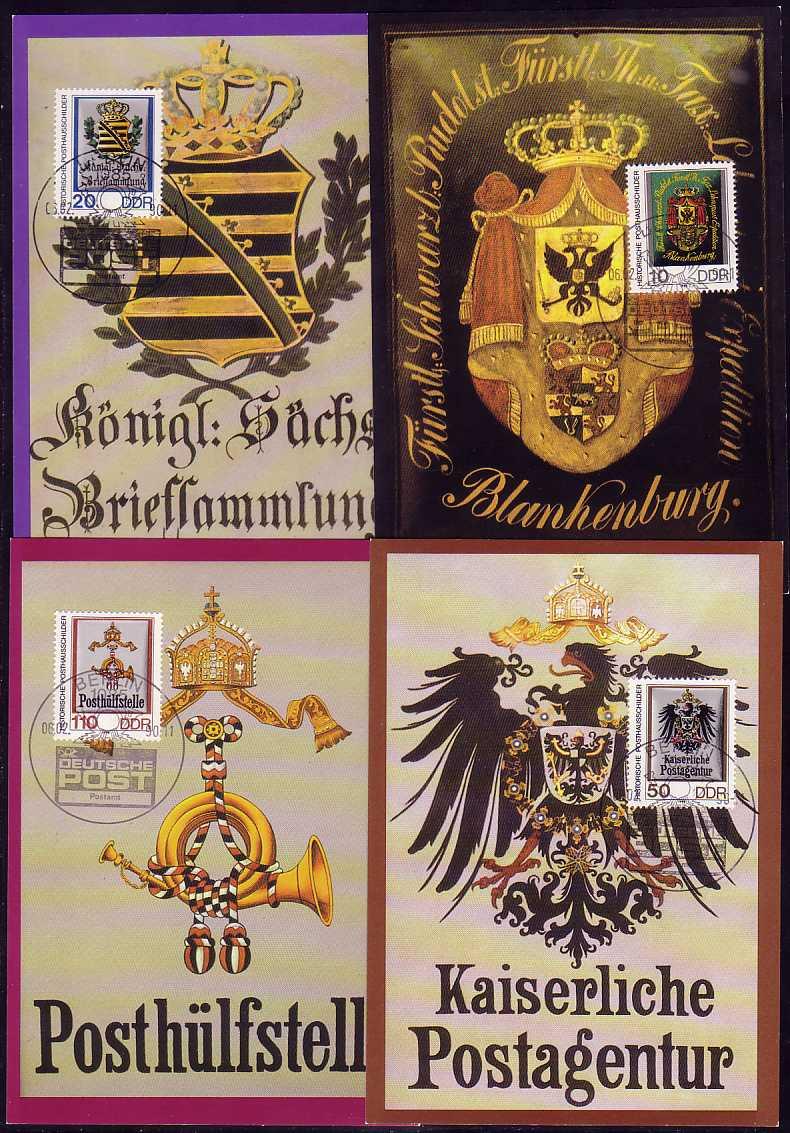 3302-3305 Posthausschilder 1990, amtliche MK 1-4/90 0