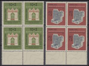 171-172 IFRABA 1953, 2 Werte, Satz als Unterrand-Viererblöcke **