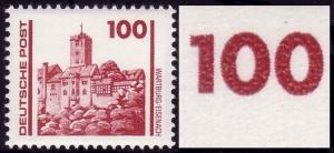 3350II Bauwerke 100 Pf: oben abgeschrägte 1 und Kerbe oben in 2. Null, Feld 9 **