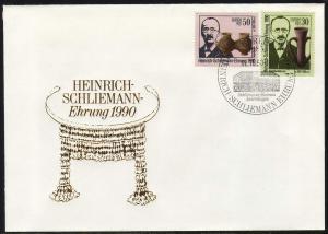 3364-3365 Schliemann 1990, Satz auf FDC