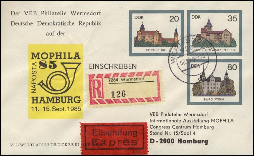 U 2 Burgen der DDR 1985, Zudruck MOPHILA, R-Express-Brief mit Ankunftstempel 0