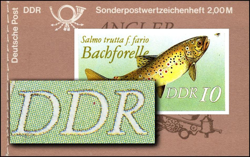MH 9w1 Süßwasserfische 1988 - PLF Punkt im D von DDR, Feld 4 ** 0