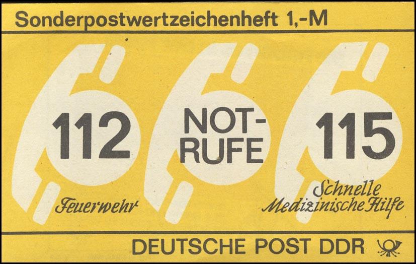 SMHD 26 Notrufe 1987 mit DDF auf 1.DS spitzer Fuß des R von RUFE ** 0