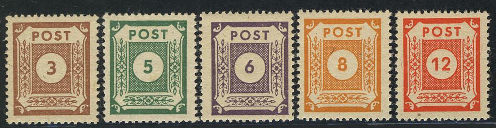 56-60 Freimarken 1945, 5 Werte, Satz ** 0
