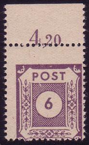 58 Freimarke Ziffer 6 Pf. Verzähnung Rand **