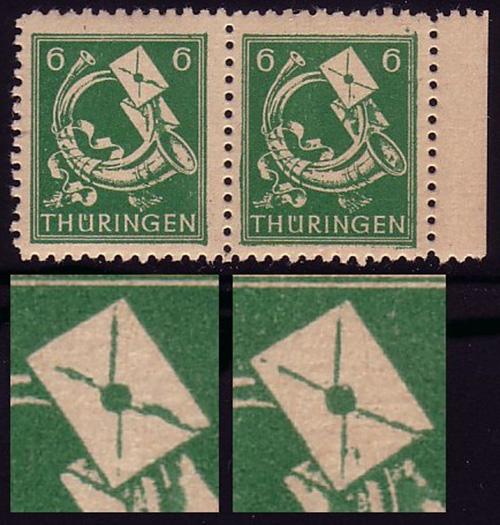 95 Paar mit zwei Plattenfehlern dicke Briefklappe und Punkt im Brief, ** 0