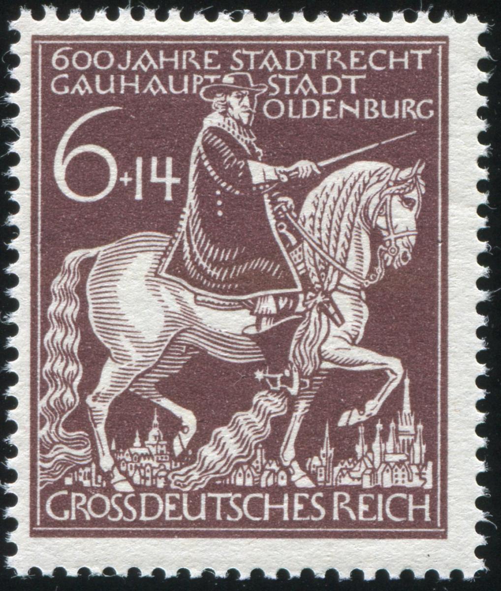 907IV Oldenburg 1945: gebrochenes Schwert, Feld 18, ** 0