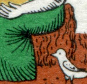 266 Wofa 10 Pf mit PLF weißer Fleck im grünen Kleid, Feld 15, **