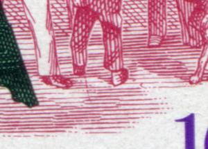 872 Drehorgel mit PLF senkrechter roter Strich unter dem Schuh, Feld 4, **