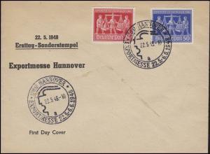 969-670 Hannover Messe 1948 Schmuck-FDC ESSt HANNOVER 22.5.48 - mit PLF 970III