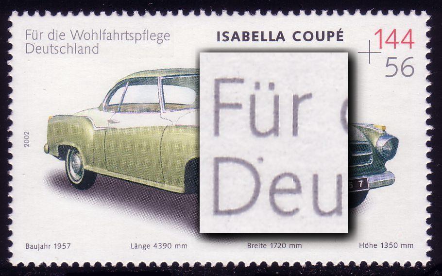 2293I Wofa Isabella mit PLF I Punkt am D von Deutschland, Feld 2, ** 0