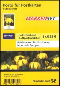 FB 2 Sonnenhut 2009, Folienblatt 5x2715 mit Luftpost-Aufkleber, **