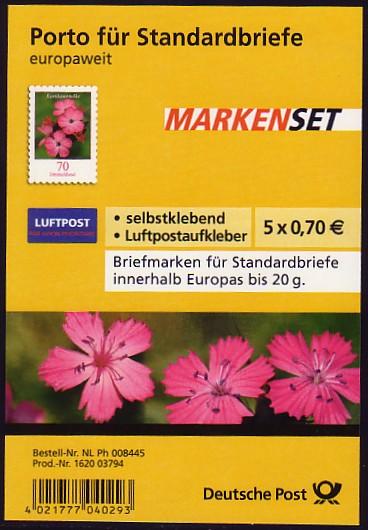FB 3 Kartäusernelke 2009, Folienblatt 5x2716, mit Luftpost-Aufkleber ** 0