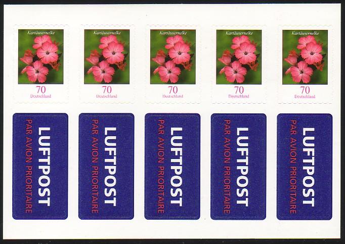 FB 3 Kartäusernelke 2009, Folienblatt 5x2716, mit Luftpost-Aufkleber ** 1