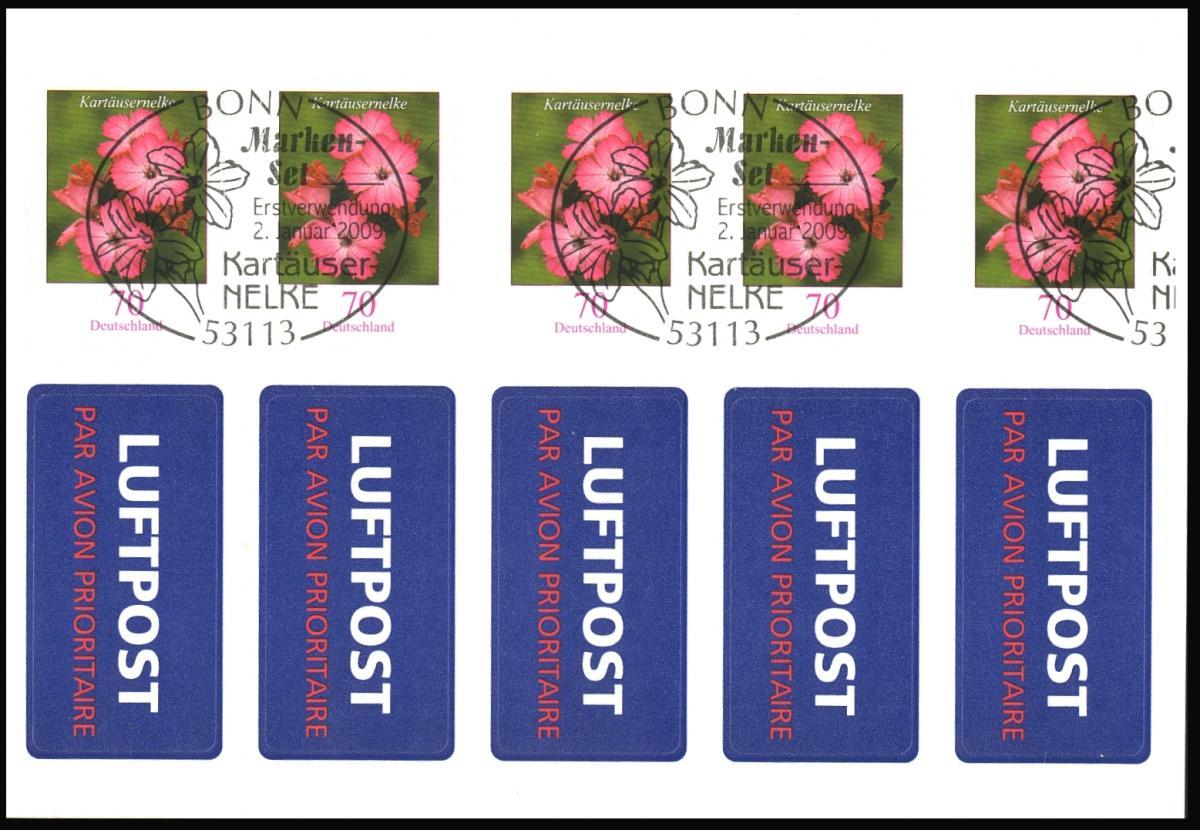 FB 3 Kartäusernelke 2009, Folienblatt 5x2716, mit Luftpost-Aufkleber, EV-O Bonn 0
