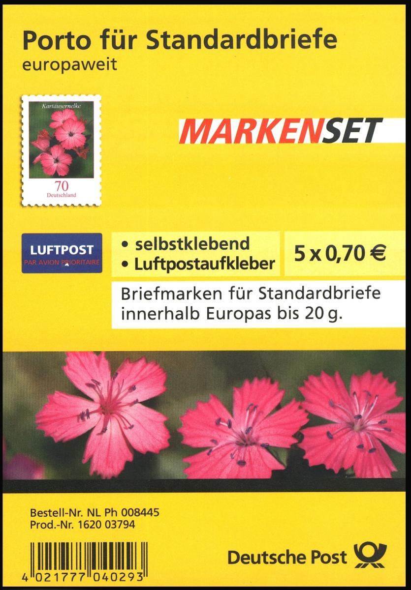 FB 3 Kartäusernelke 2009, Folienblatt 5x2716, mit Luftpost-Aufkleber, EV-O Bonn 1