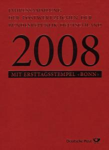 Jahressammlung Bund 2008 mit Ersttagssonderstempel