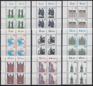 1811 ff SWK 9 DM-Werte aus 10er-Bogen kpl. Viererblock oben Satz **