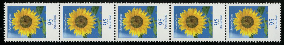 2434 Blume 95 Cent mit MDF Strich DURCHGEHEND, 5er-Streifen ** 0