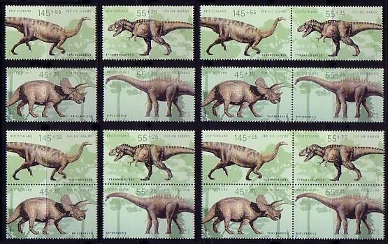 2687-2690 aus Bl.73 Dinosaurier, fünf Zusammendrucke + vier Einzelmarken, Set ** 0