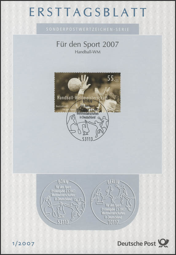 Ersttagsblätter ETB Bund Jahrgang 2007 Nr. 1 - 41 komplett 0