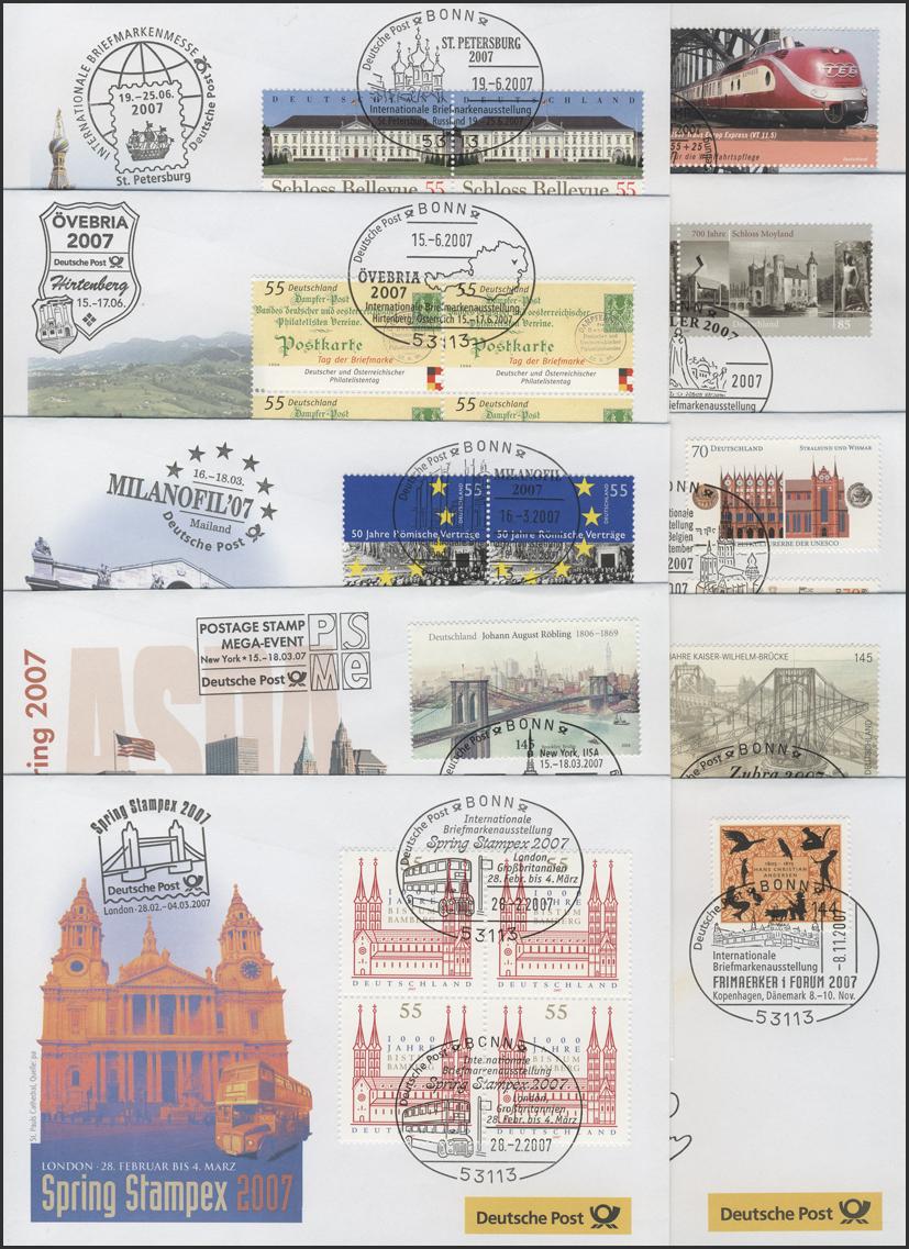 Ausstellungsbelege Jahrgang 2007 Nr. 117 bis 126 komplett mit 10 Belegen 0