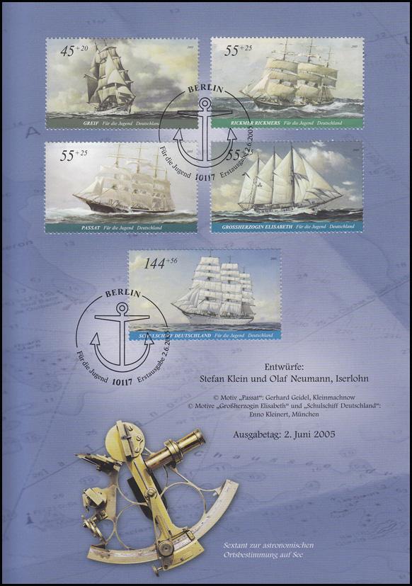 2464-2468 Jugendmarken Segelschiffe: Großsegler 2005 - EB 4/2005 1