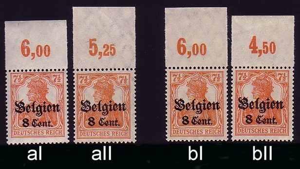 Dt. Bes. Belgien 13 Typen-Set aI/aII/bI/bII Oberrand ** 0