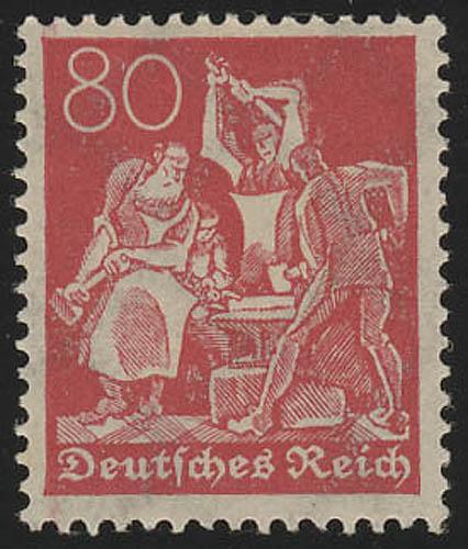 186 Freimarke Arbeiter 80 Pf Wz 2 ** 0