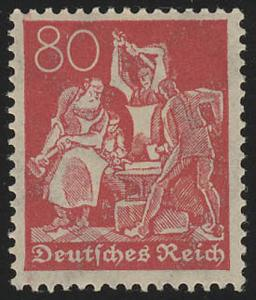 186 Freimarke Arbeiter 80 Pf Wz 2 **
