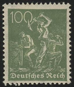 187a Freimarke Arbeiter 100 Pf Wz 2 **