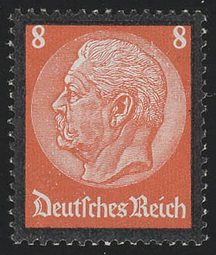 551 Hindenburg Trauerrand 8 Pf ** 0
