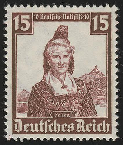 594 Nothilfe Volkstrachten Hessen 15 Pf ** 0