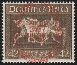 649 München-Riem, Marke mit rotem Aufdruck aus Block 10 **