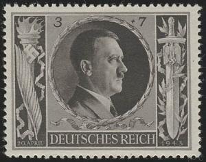 844 Hitlers Geburtstag 1943 3+7 Pf **