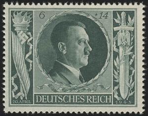 845 Hitlers Geburtstag 1943 6+14 Pf **