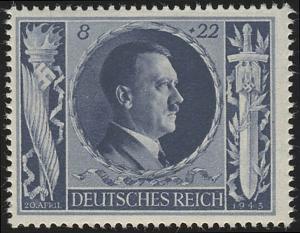 846 Hitlers Geburtstag 1943 8+22 Pf **