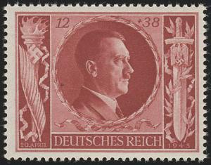 847 Hitlers Geburtstag 1943 12+38 Pf **