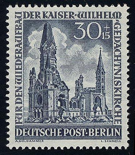 109 Kaiser-Wilhelm-Gedächtniskirche 30+15 Pf, ** 0
