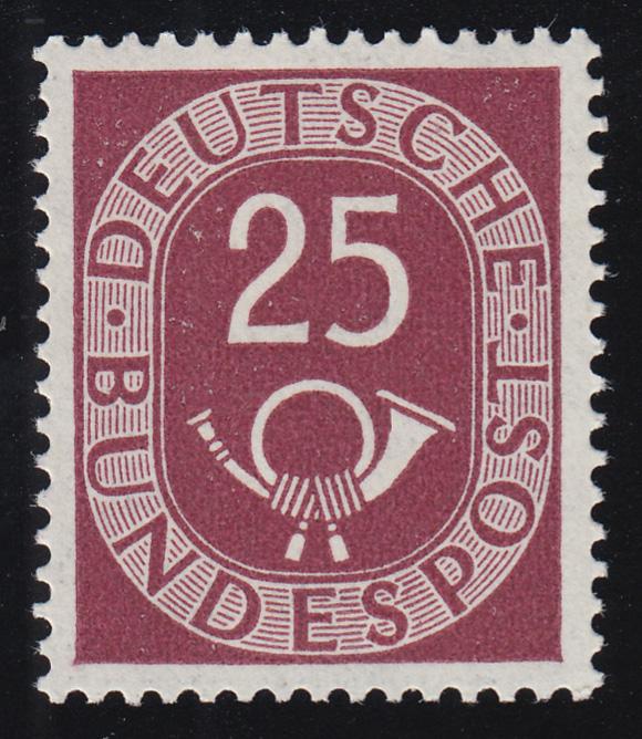 131 Posthorn 25 Pf ** geprüft BPP 0