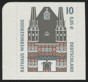 2187BC SWK 10 Pf/0,05 Euro oben geschnitten sk Rathaus Wernigerode, **