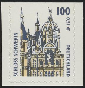 2188BC SWK 100 Pf/0,51 Euro oben geschnitten sk Schloß Schwerin, **
