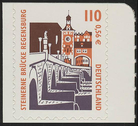 2189BC SWK 110 Pf/0,56 Euro oben geschnitten sk Steinerne Brücke Regensburg, ** 0