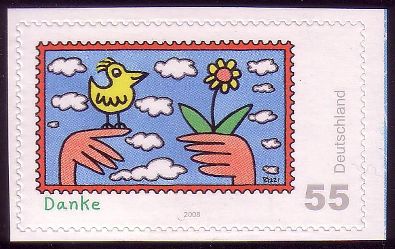 2668 Post SELBSTKLEBEND aus MH 73 Rizzi Danke ** 0